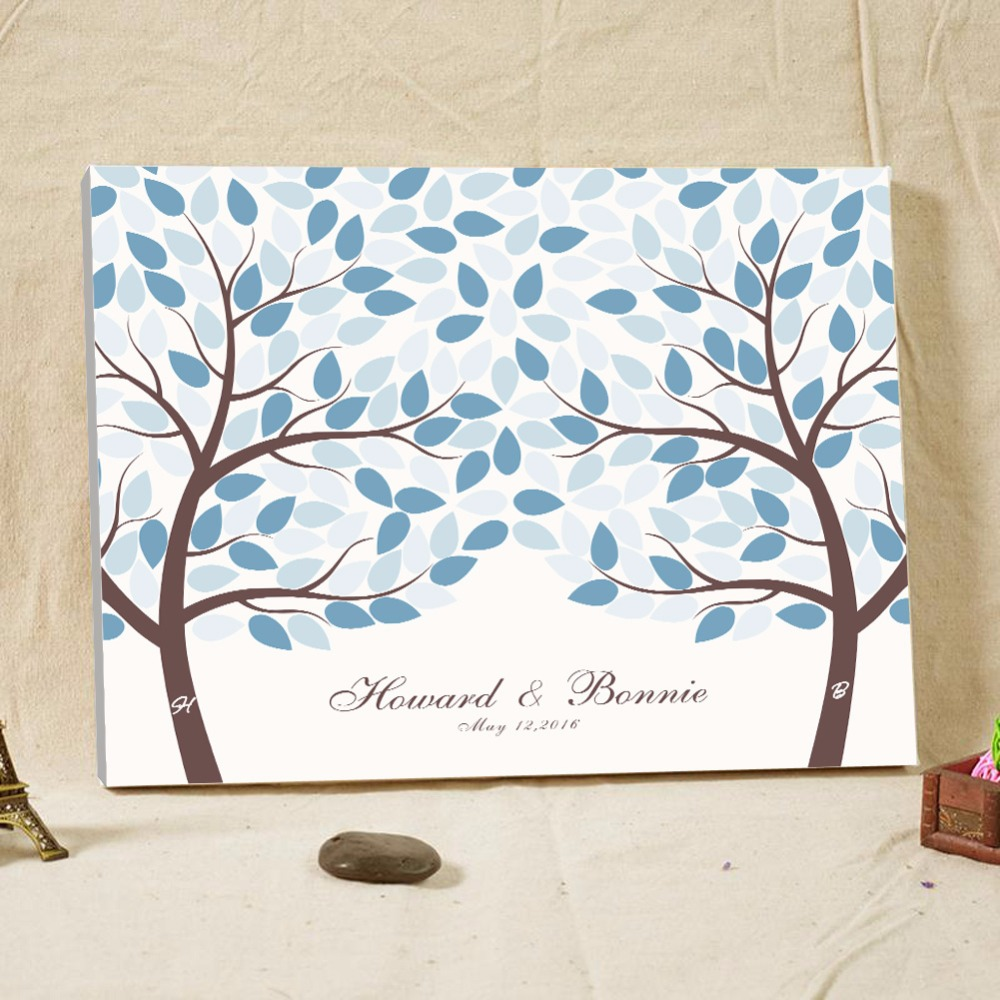 Light Blue Wedding Guest Book Canvas Signature Personalized Fingerprint Tree For Baby Shower Name Date Dec In Books