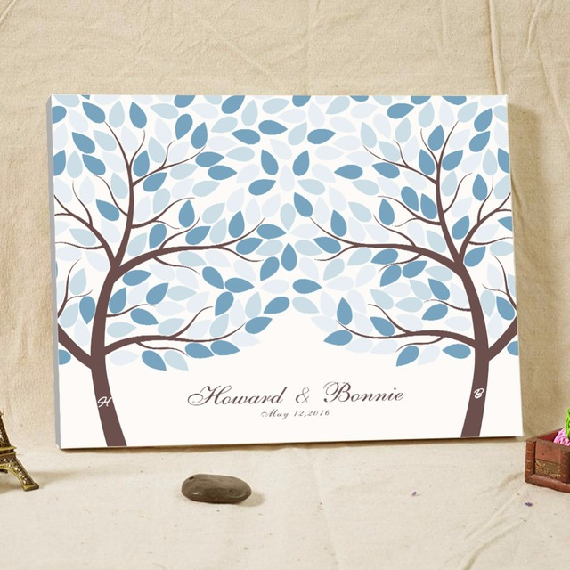 Light Blue Wedding Guest Book Canvas Signature Personalized Fingerprint Tree For Baby