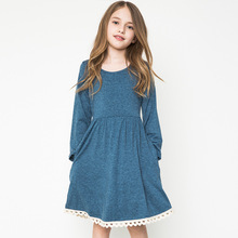 casual dresses for teens girls long sleeve costumes autumn age 13 dresses children clothing 12 years fashion anchor blue clothes