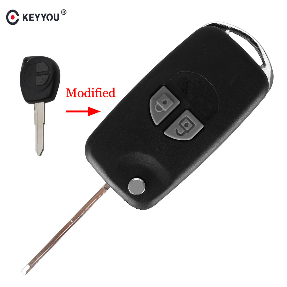 KEYYOU For Suzuki Swift Grage Vitara Alto 2 Buttons Flip Folding Car Key Case Shell Upgrade Remote Key With Button Pad
