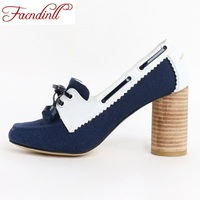 FACNDINLL 2018 Brand Style Spring Hand Made Leather Canvas Women Pumps High Heels Lace Up Fashion