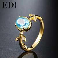 EDI Natural Spirit Series 14k 585 Yellow Gold Engagement Ring For Women Customized 1CT Topaz With