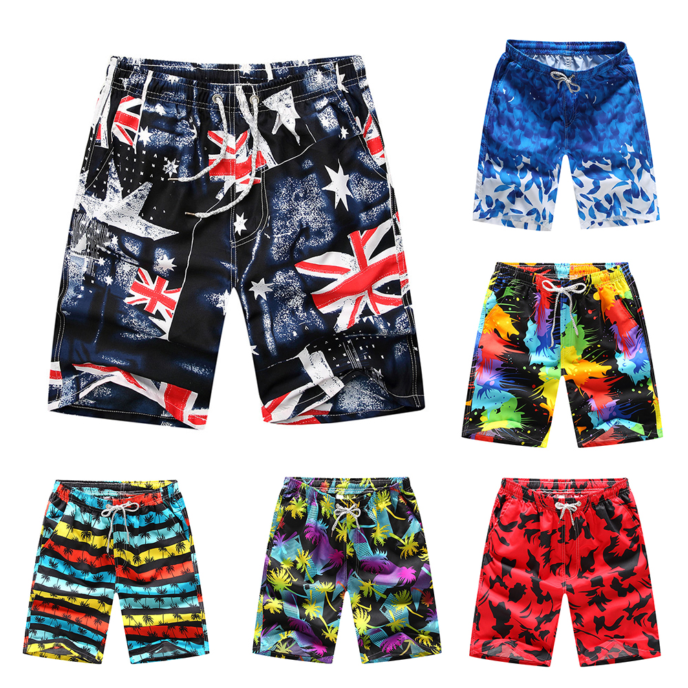 Beach   Shorts   Men Bottoms Anti-UV Quick Dry   Shorts   Printing Swimming Surfing   Shorts   Summer Draw String Elastic Waist   Shorts   Men