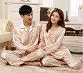 2016 Verão Homens E Mulheres Casais de Luxo Conjuntos De Pijama De Seda Sleepwear ternos Fino E Macio Home Wear 2 Cores Projetos de Grande Porte