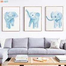Nordic Blue Elephants Prints Watercolor Painting Animal Wall