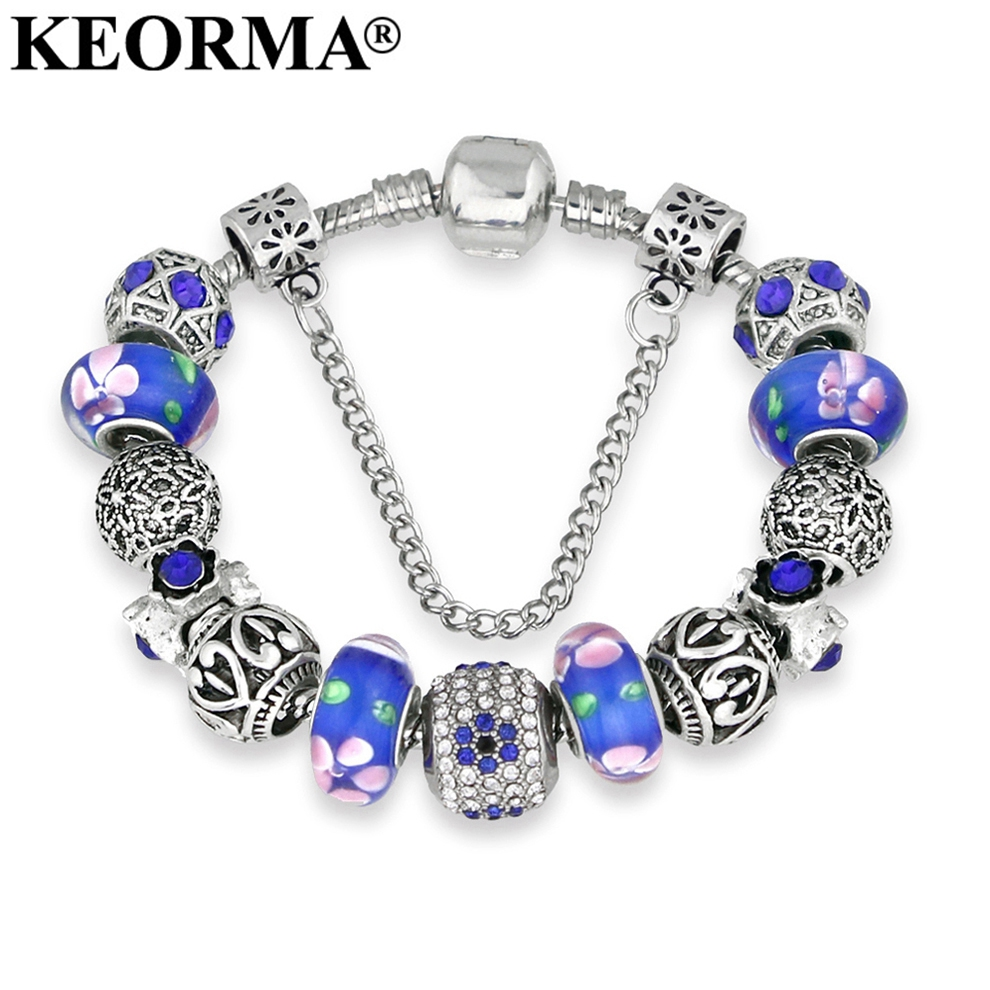 KEORMA Luxury Design Red Crystal Bracelet Antique Silver Color Murano Beads Fit Brand Charms Bracelets For Women Gift Jewlery
