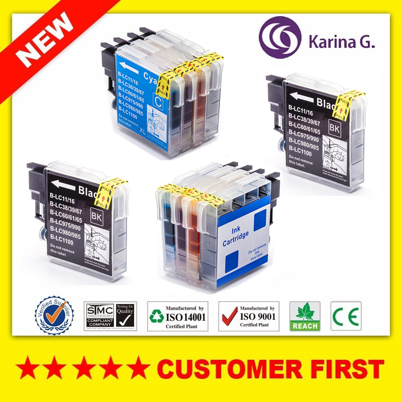 10x Kartrid Tinta Kompatibel untuk Brother LC 985 LC975 LC67 LC1100 LC980 XL Ink Cartridge untuk Brother DCP 185C 195C 9805C Printer