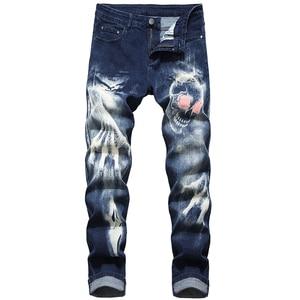 Image 1 - Sokotoo גברים של גולגולת שטן טפרים של 3D מודפס ג ינס Slim ישר למתוח ג ינס מכנסיים כחול שחור