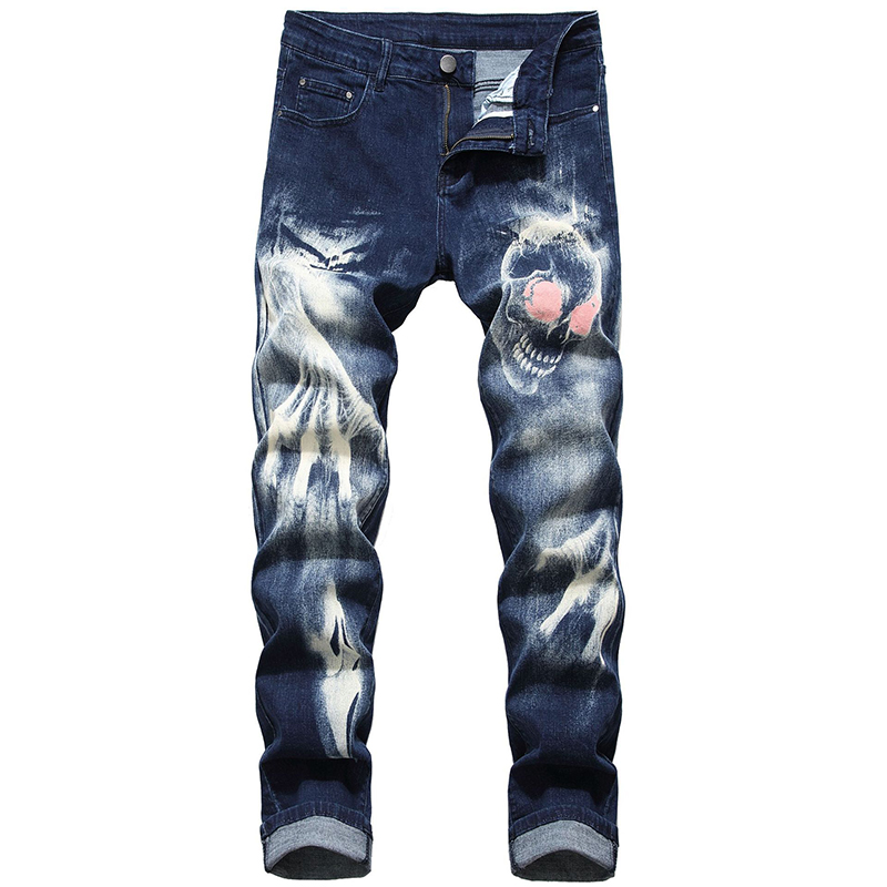 Sokotoo Men's skull devil's talons 3D printed   jeans   Slim straight stretch denim pants Blue Black
