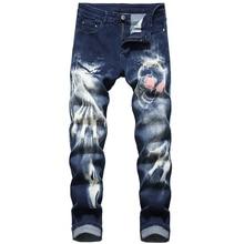 Sokotoo Mens skull devils talons 3D printed jeans Slim straight stretch denim pants Blue Black