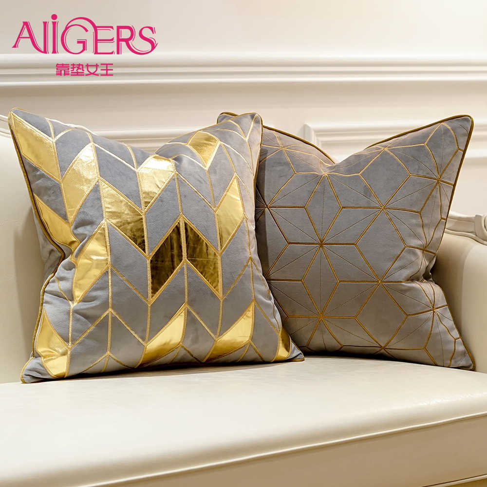 Avigers Luxury Grey Gold Silver Cushion Covers Decorative Pillow Cases Applique Throw Pillowcases 45 x 45 50 x 50 Cushions