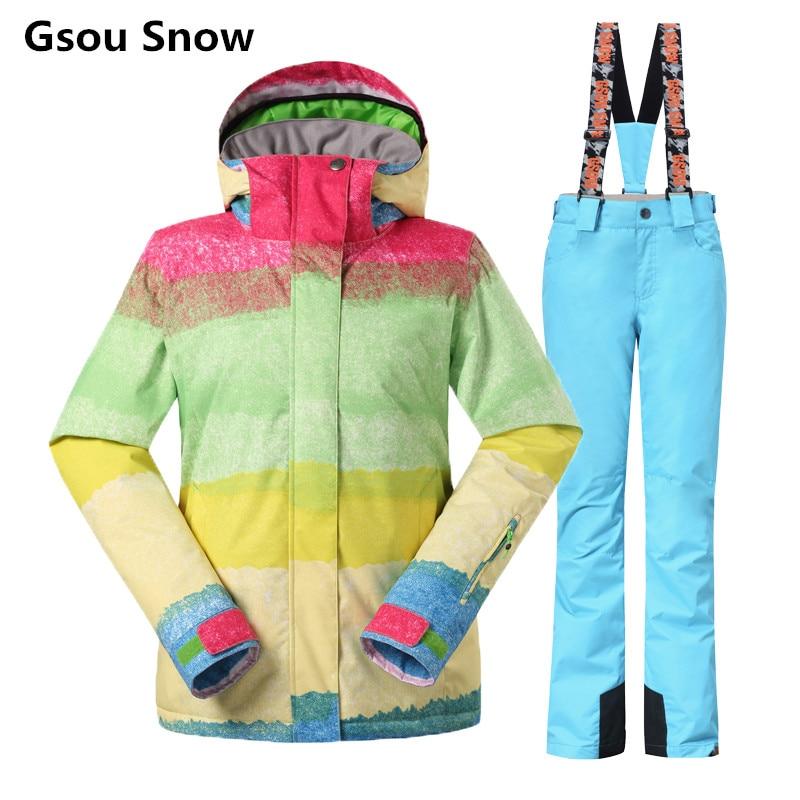 Gsou Snow Skianzüge weiblich Snowboard Winter Ski Jacke und Hose - Sportbekleidung und Accessoires
