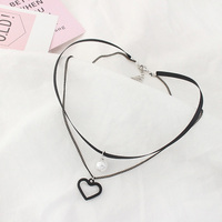Double Chain Black Choker Necklace Heart Pearl Love Couples Jewelry Gifts For Grandparents Girlfriend And Boyfriend