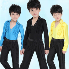 Boys Latin training suit children's Latin dance practice costumes Autumn long-sleeved performing apparel for celebration party