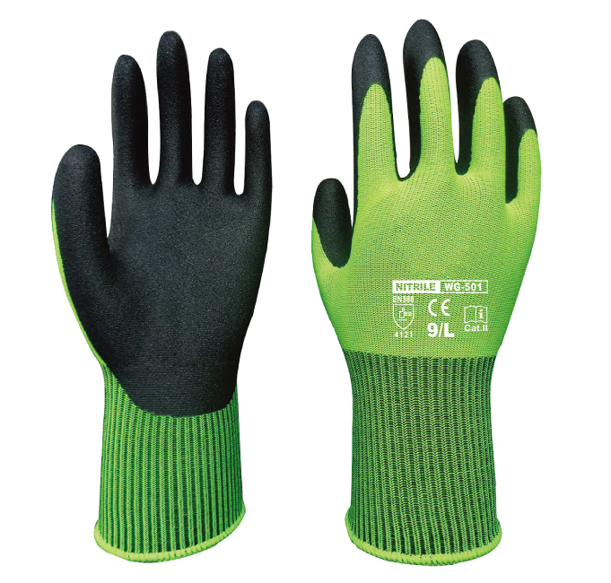 FBA Amazon Garden Gloves Safety Gloves Nylon With Nitrile Sandy Coated Work Glove keenway набор инструментов 4 предм keenway