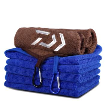 Daiwa ręcznik wędkarski odzież wędkarska pogrubienie nieprzywierająca chłonna na zewnątrz sport wytrzeć ręce ręcznik piesze wycieczki sprzęt wędkarski tanie i dobre opinie CN (pochodzenie) Polyester Cotton Thickening Non-stick Absorbent Microfiber Soft 35X27cm Towels random colors Fishing Towel