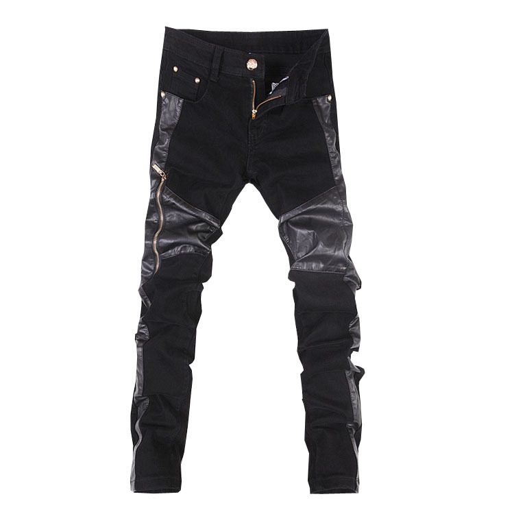 Fashion men leather trousers motorcycle with zipper casual pants skinny pants free shipping A107 ...