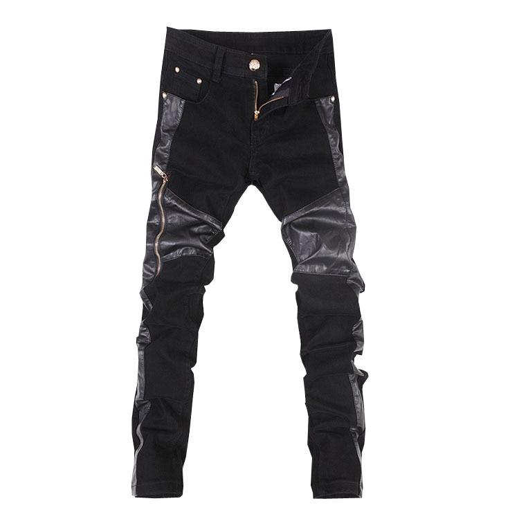 Moda bărbați piele pantaloni motocicleta cu fermoar casual - Imbracaminte barbati