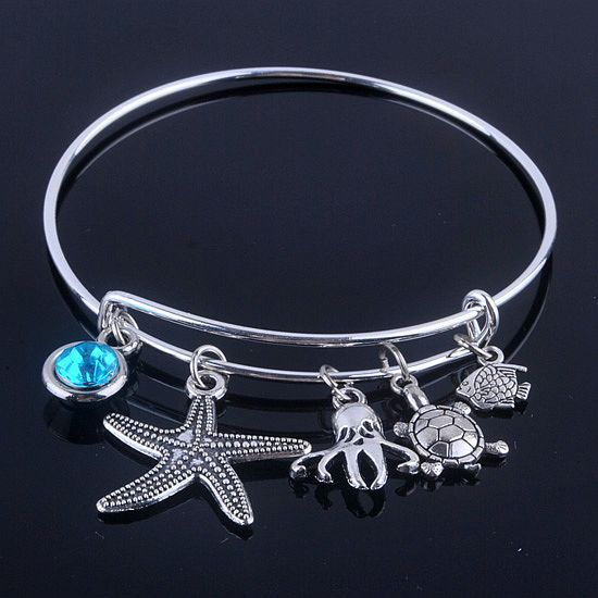 New Design Adjule Expandable Wire Bracelets Bangles Diameter 65mm Silver Plated Sea Life And Blue Birthday Stone In From Jewelry