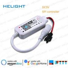 DC12V-24V wifi rgb pixel spi controlador por telefone inteligente app alexa e google casa para ws2811/1903/ws2812 tira de cor cheia