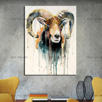 Handmade Artist New Design Abstract Animal Goat Oil Painting For Wall Decoration Abstract Sheep Oil Painting For Christmas Gift