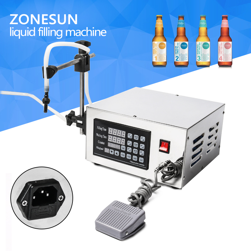 ZONESUN Automatic Magnetic pump liquid filling machine filler ck-280 For oil, acid and alkali liquid glf i ii two nozzles pump liquid filler for water oil