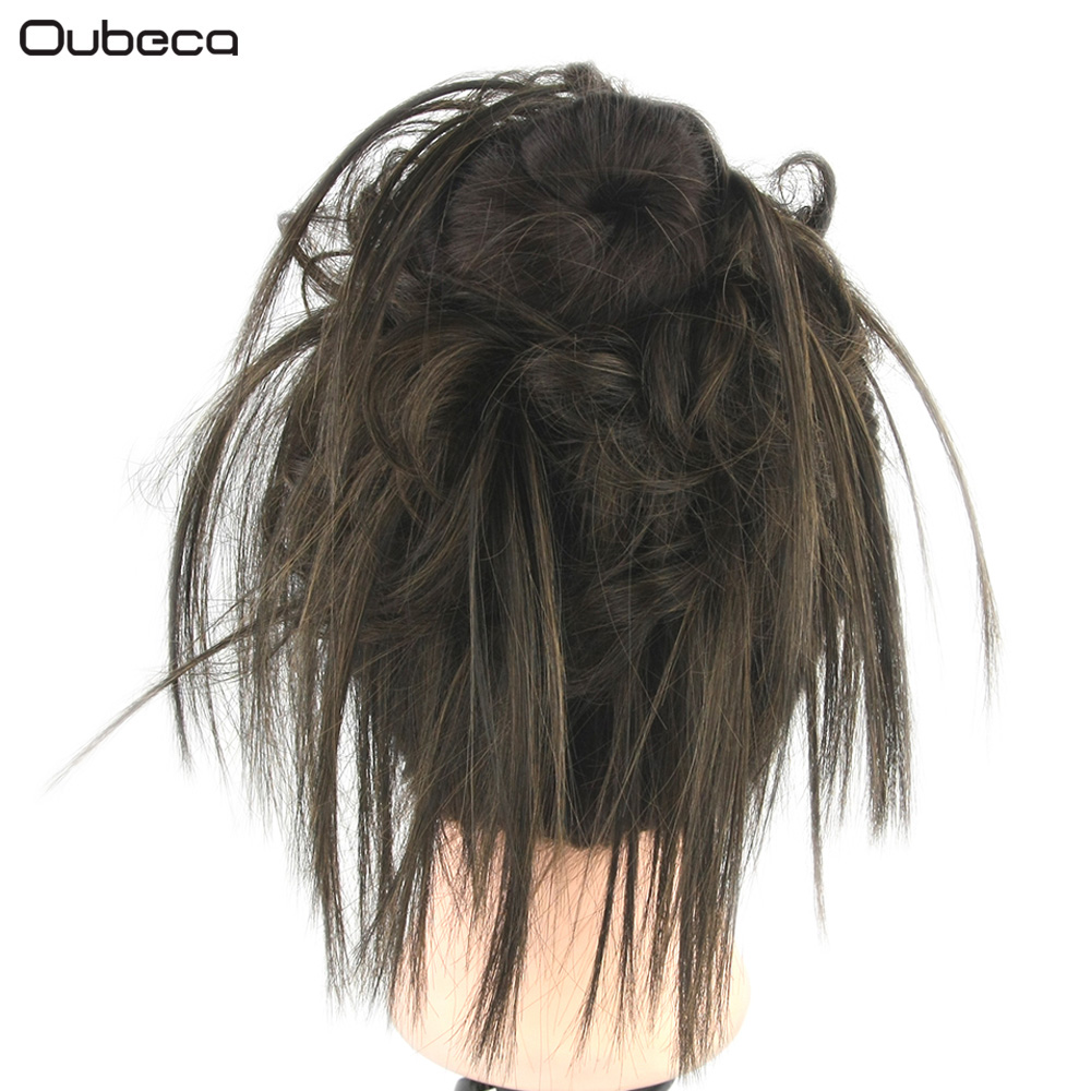 OUBECA Rubber Band Curly Scrunchie Hair Bun Elastic Wrap Hair Ring Heat Resistance Synthetic Hair Accessories Black Blonde