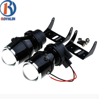 ROYALIN Universal Halogen Fog Lights Retrofit Projector Lens 12V 35W Car Styling Lights Driving Lamps with Halogen H3 Bulbs