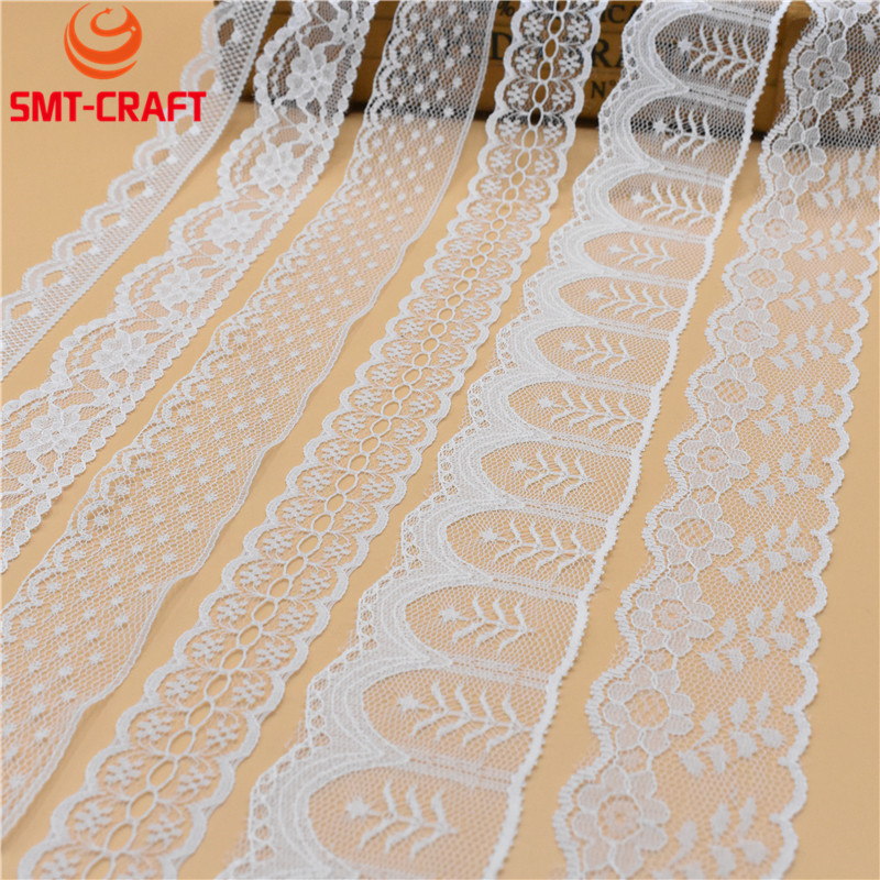 2017 NEW 10 Yards Beautiful White Lace Ribbon Tape french african lace fabric Lace For Sewing Embroidered Clothing Accessories