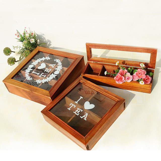 Vintage Wooden Tea Storage Box Wooden Container For Tea Organizer With  Glass Lid Wood Organizer