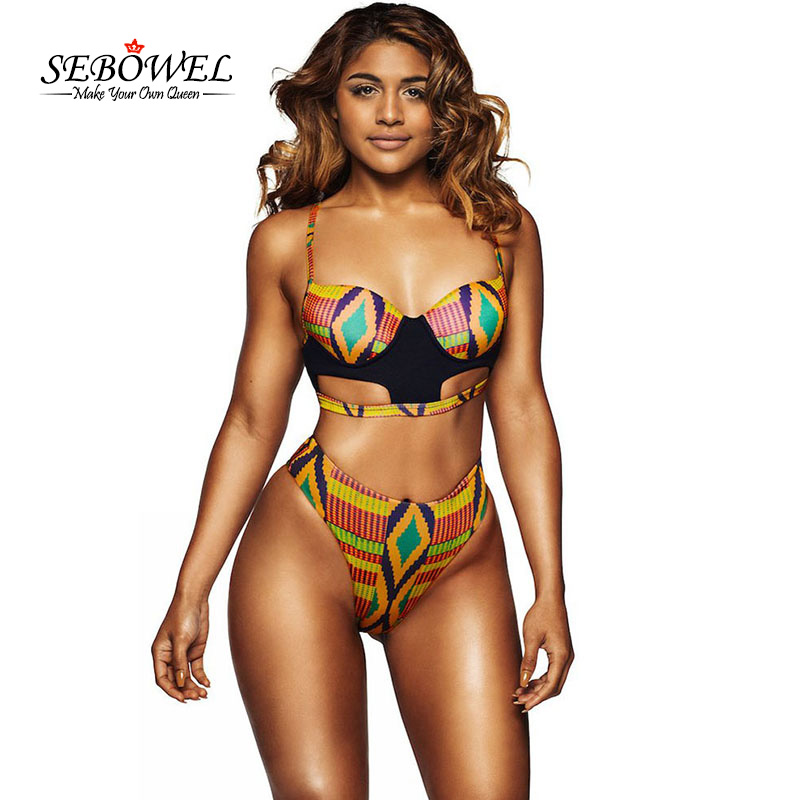 SEBOWEL 2017 Sexy African Tribal Print Swimsuit Women High Waisted Thong Bottoms Swimwear Two Pieces Bathing Suits Padded Bikini 2015 new fashion halter yellow bikini for women two piece bathing suits swimsuit hot sale padded swimwear bottoms free shipping