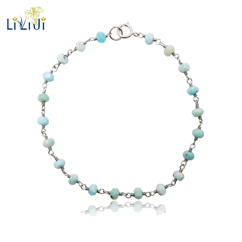 Natural Stone Blue Larimar 925 Sterling Silver Handmade Knitting Shining Bracelet 7''-8''
