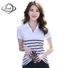 996eef7d18 Camisa polo mulheres primavera verão tamanho M-4XL YAUAMDB das senhoras do  algodão de manga curta Listrada tee feminino turn-dow.