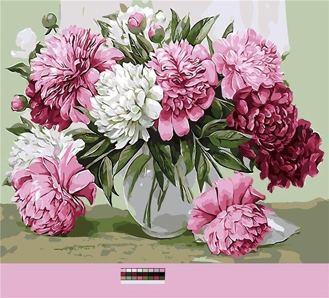 Musim Semi Bunga Mawar Lukisan Minyak Gambar Dengan Nomor Digital