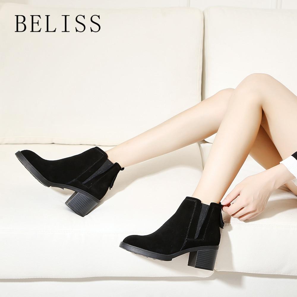 BELISS ladies ankle boots leather women slip on arrival chelsea boots women shoes spring autumn square heel female footwear B53-في أحذية الكاحل من أحذية على  مجموعة 1