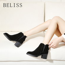 BELISS ladies ankle boots leather women slip on arrival chelsea boots women shoes spring autumn square heel female footwear B53 kickway 2018 slip on stretch band rubber boots winter ankle chelsea boots women shoes autumn square heel female footwear 34 42