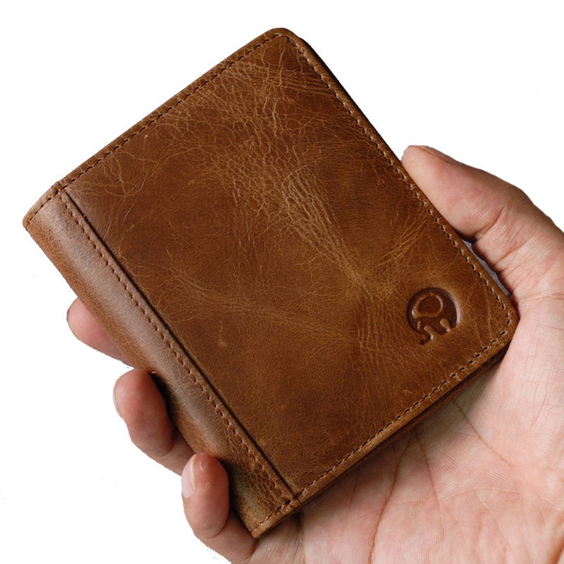 100% Genuine Leather Small Mini Ultra-thin Wallets Men Compact Wallet Handmade Wallet Cowhide Card Holder Short Design Purse