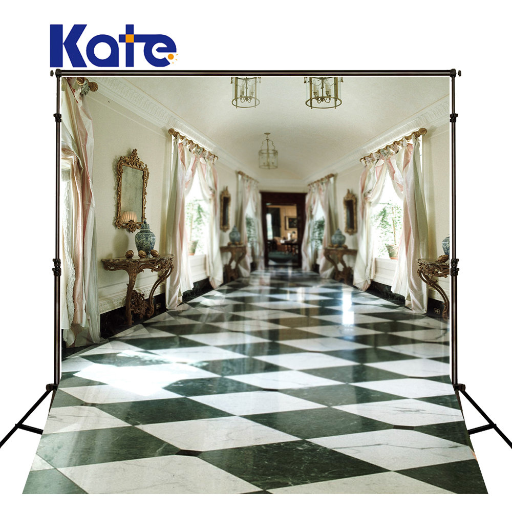 KATE 5x7ft Indoor Wedding Backdrop European-style Open Room Backdrops Black and White Tiles Space Background for Photo Studio kate photo background black and white striped backdrop wedding backdrops children photo background for photo studio