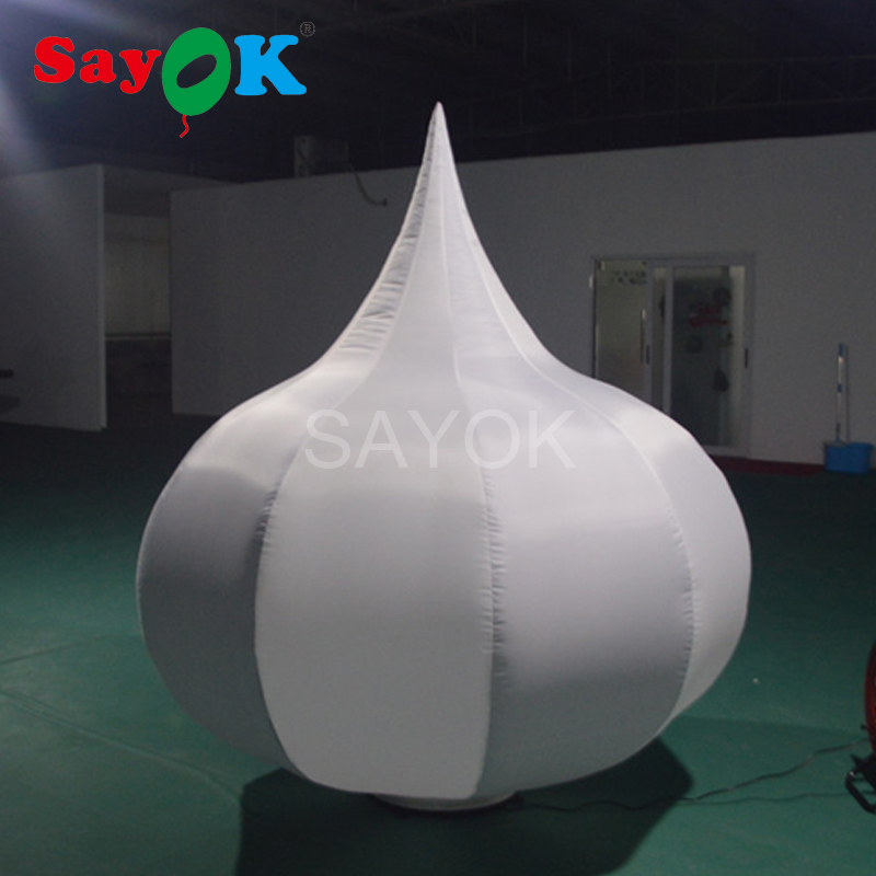 Sayok 2m Outdoor Giant Inflatable Onion Shaped with LED Changing Lights for Advertising Promotion Event Festive Party Decoration
