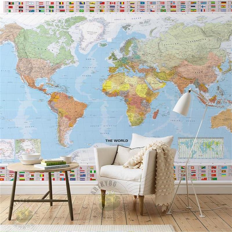 3d room wallpaper custom murals non woven wall sticker HD World map ...