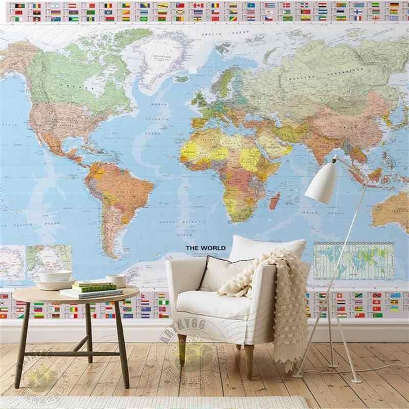 3d wallpaper custom living room mural non woven photo sticker HD world map picture sofa TV.jpg q50
