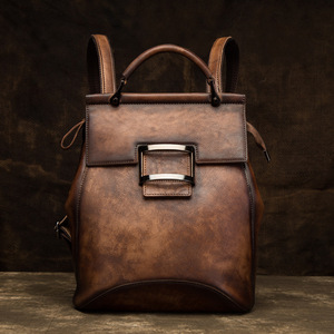 Image 3 - Johnature 2020 New Retro Genuine Leather Bag Solid Color Backpack Handmade Cowhide Large Capacity Women Backpacks Travel Bags