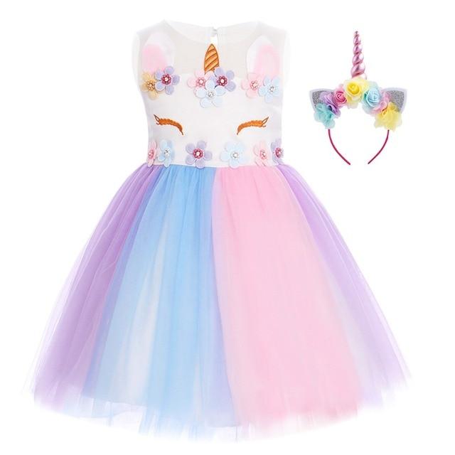 Cute Flower Unicorn Rainbow Dress