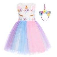 2pcs Set Cute Baby Kid Girls Clothes Set Flower Unicorn Rainbow Dress Birthday Cake Smash Outfit Headband Girls Fancy Dress Up