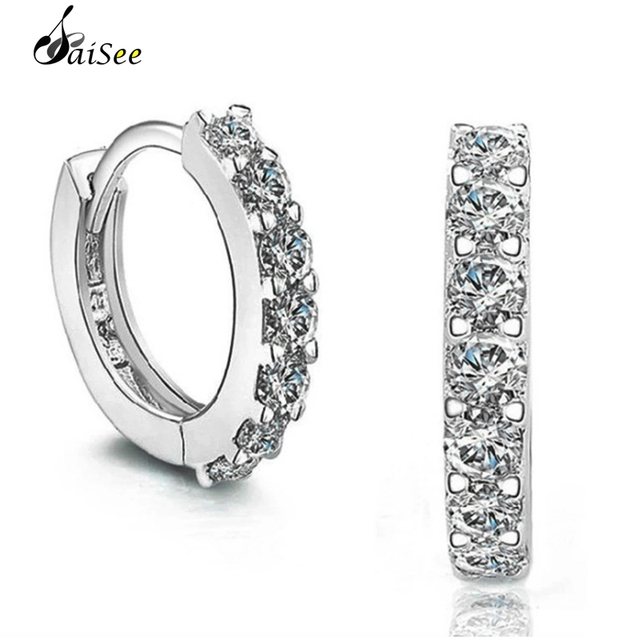 1a98dcee5 SaiSee Pave Clear Singlerow Crystal Stud Earrings for Women Silver White  Gold Color Round Circle Fashion Jewelry Dropshipping