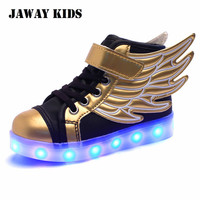 Jawaykids Children Glowing Sneakers SUB Rechargeable Angel's Wings Luminous Shoes for Boys,Girls LED Light Running Shoes Kids