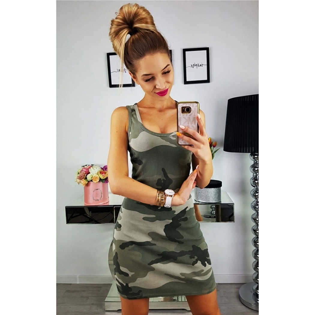 d4969dc65bd3 ... Sexy Sleeveless Camouflage Summer Dress Pencil Women Printed O -Neck  Slim Bodycon Dresses Fashion Ladies ...