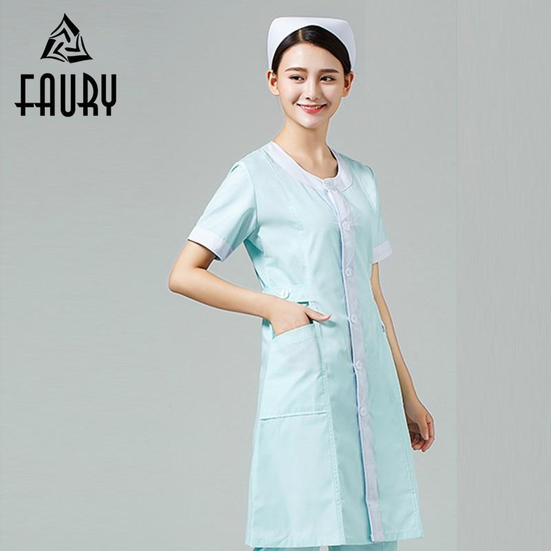 O Neck Adjustable Waist Long Coat For Women Nurse Doctors Hospital Lab Medical Uniforms Pharmacy Beauty Salon Workwear Clothing