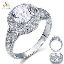 Estilo de Estrella de La Vendimia del pavo real 2 Quilates CZ Creado Diamond Sólida Plata de ley 925 Anillo de Compromiso de Boda CFR8090