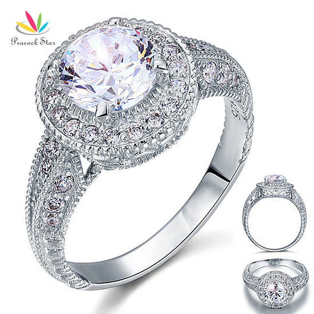 Peacock Star Vintage Style 2 Carat CZ Created Diamond Solid 925 Sterling Silver Wedding Engagement Ring CFR8090